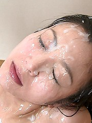 Massive bukkake on japanese face