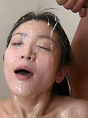 Massive bukkake on japanese face - Japarn porn pics at JapHole.com