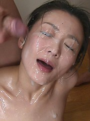 Japanese girl Yuria gets massive bukkake - Japarn porn pics at JapHole.com