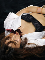 Japanese girl in skirt takes deep blowjob - Japarn porn pics at JapHole.com