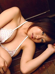 Kitamura Hitomi poaing her natural big tits with white lingerie. - Japarn porn pics at JapHole.com