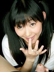 Brunette japanese girl Kawai Anri with pigtails  - Japarn porn pics at JapHole.com