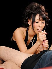 Japanese babe Oguri Miku doing handjob - Japarn porn pics at JapHole.com