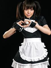 JA model Sakura Sena in maid uniform services cock