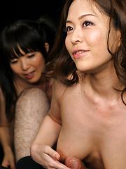 Two japanese sluts Sakura Sena and Asakura Mint services one cock - Japarn porn pics at JapHole.com