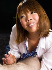Hot handjob from Karina Rion - Japarn porn pics at JapHole.com