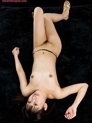 Big-eyed japanes girl Oshima Karina masturbates cock - Japarn porn pics at JapHole.com