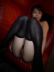 Jun in black stockings shows her booty - Japarn porn pics at JapHole.com