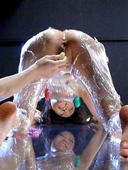 Japanese girl Yui Komine likes cellophane - Japarn porn pics at JapHole.com