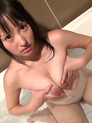 The more Reina rubbed her nipples the bigger her eyes became - Japarn porn pics at JapHole.com