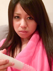 How long could this naughty Japanese girl hold out before slipping the toy under her thong? Satsuki's cotton panties quickly became wet and frustrated. - Japarn porn pics at JapHole.com