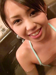 Satsuki's wild challenge was to wear this tiny blue bikini in the bathtub and keep her intimate parts from popping out. Easy for such a cute Japanese girl! - Japarn porn pics at JapHole.com