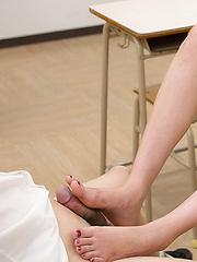 Kohaku Uta doing footjob in school class - Japarn porn pics at JapHole.com