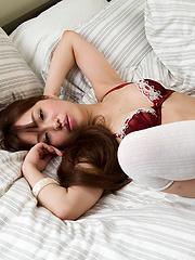 Toudou Yukari posing in black and white stockings - Japarn porn pics at JapHole.com