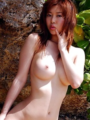 Azusa Kyouno at the beach posin big round tits - Japarn porn pics at JapHole.com