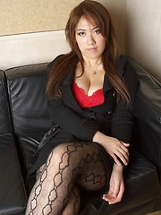 Busty Asian posing in red lingerie - Japarn porn pics at JapHole.com