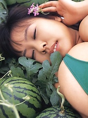 Fuko posing her watermelons tits next to real watermelons! - Japarn porn pics at JapHole.com
