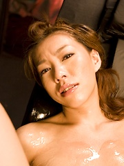 Japanese girl Kaoru Hayami plays with her hairy pussy - Japarn porn pics at JapHole.com