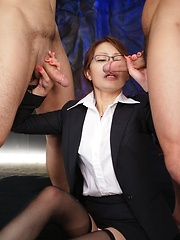 Yuri Aine gets 3 hard cocks - Japarn porn pics at JapHole.com