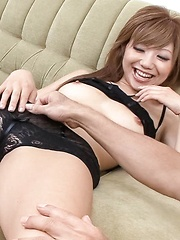Hazuki Rui Asian gets vibrators in pussy on and under lace panty - Japarn porn pics at JapHole.com