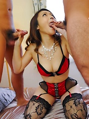 Minako Uchida Asian gets cum in mouth from cocks she sucks well - Japarn porn pics at JapHole.com