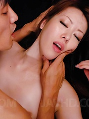 Misato Sakurai Asian has pussy licked under thong by man in leash - Japarn porn pics at JapHole.com