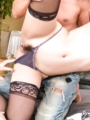 Eririka Katagiri Asian in stockings sucks two dongs in her style - Japarn porn pics at JapHole.com