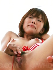 Nagisa Aiba Asian in red lingerie gets vibrator on hairy beaver - Japarn porn pics at JapHole.com