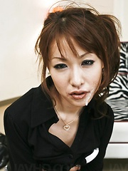 Rika Kurachi Asian with mask on eyes gets two cocks in mouth - Japarn porn pics at JapHole.com
