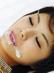 Azumi Harusaki Asian in black lingerie gets sperm from two dicks - Japarn porn pics at JapHole.com