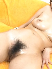 Hinano Asian with oiled body gets vibrators on vagina and boobs - Japarn porn pics at JapHole.com