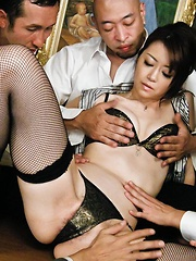 Kinky Maki Hojo takes on a group of horny guys with stiff dicks - Japarn porn pics at JapHole.com