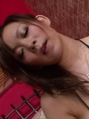 Ren Mizumori Asian licks penis head and rubs it with fine boobs - Japarn porn pics at JapHole.com