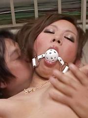 Ren Mizumori Asian is touched and gets vibrators over lingerie - Japarn porn pics at JapHole.com