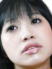 Kotomi Asakura Asian has cum on lips from sucking hard penises - Japarn porn pics at JapHole.com