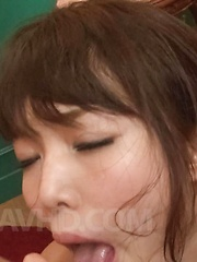 Megumi Shino Asian gets cum from sucking two dongs with talent - Japarn porn pics at JapHole.com