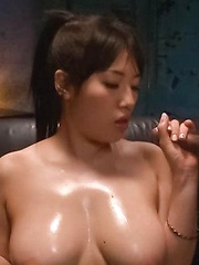 Azusa Nagasawa Asian puts vibrator on clit and licks two tools - Japarn porn pics at JapHole.com