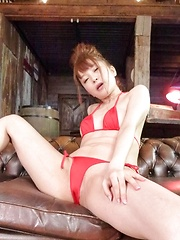 Maomi Nagasawa Asian in red lingerie comes from vibrator on twat - Japarn porn pics at JapHole.com