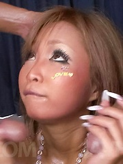 Riku Hinano Asian with long nails gets cum on face from two dongs - Japarn porn pics at JapHole.com