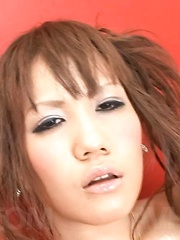 Mirai Asian with juicy titties arouses lower lips with vibrator - Japarn porn pics at JapHole.com