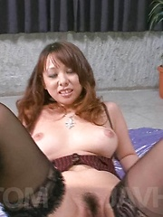 Asuka Asian with generous chest sucks tool and gets vibrator - Japarn porn pics at JapHole.com