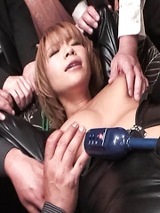 Sumire Matsu Asian gets dildo in slit and vibrators on big assets - Japarn porn pics at JapHole.com