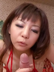 Hikaru Aoyama Asian in red lingerie rubs dick with feet so well - Japarn porn pics at JapHole.com