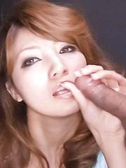Misaki Aiba Asian gets cum from sucking and rubbing two shlongs - Japarn porn pics at JapHole.com