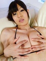 Nozomi Koizumi Asian gets vibrator on cunt while sucking boner - Japarn porn pics at JapHole.com