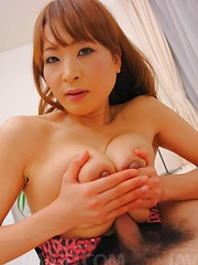 Hikaru Wakabayashi Asian rubs dick of big cans and gets vibrator - Japarn porn pics at JapHole.com