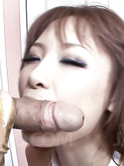 Misa Kikouden Asian fucks her beaver with dildo and sucks boner - Japarn porn pics at JapHole.com