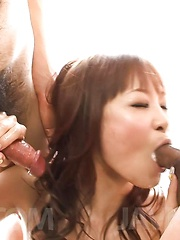 Misa Kikouden Asian sucks two hard dicks and rides fake cock - Japarn porn pics at JapHole.com