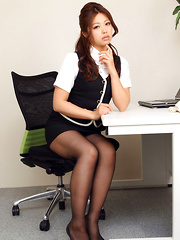 Asuna Kawai Asian shows sexy legs and big assets in office suit - Japarn porn pics at JapHole.com