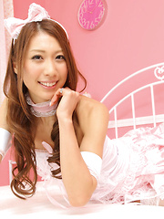 Reika Miki Asian in pink fluffy lingerie is always smiling queen - Japarn porn pics at JapHole.com